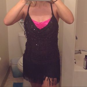 Other - One piece black and pink fringe dance outfit